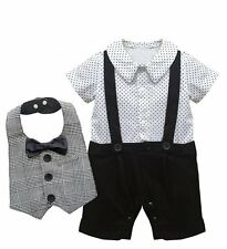 Baby Boy Wedding Christening Dressy Party Tuxedo Outfit+Bibs Suit Clothes Set