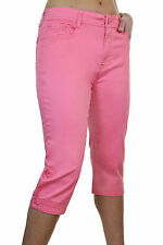 (1510-2) Plus Size Diamante Cuff Crop Capri Stretch Jeans Hot Pink 14-24