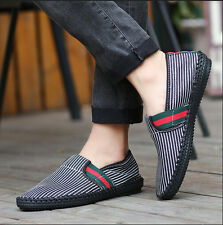 Mens Canvas Striped  Slip On Loafers Driving Moccasins Casual Shoes Sneakers Z22