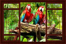 3D Fake China Window Decal WALL STICKER Decor Parrots In Love View Art Wallpaper
