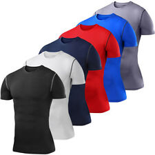 Mens Sportwear Athletic Compression Under Base Layer Short Sleeves T-Shirts Tops