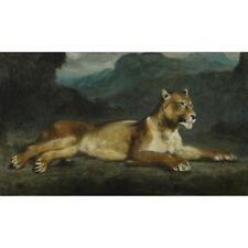 Eugene Delacroix - Lioness Reclining 1855 Classic Art Vintage-Style Poster