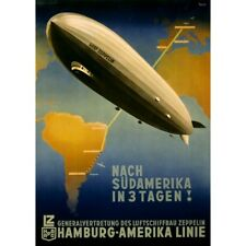 Graf Zeppelin Germany South America Airship Travel Ad Vintage-Style Poster