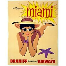Miami Braniff International Airways Travel Advertisement Vintage-Style Poster