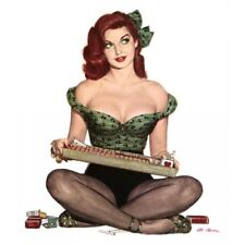 Pin Up Girl Vintage-Style Poster Redhead Cigarette Girl Wearing Leggings Tights