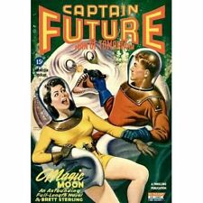 Vintage-Style Sci Fi Poster Captain Future Man Of Tomorrow Magic Moon Cover