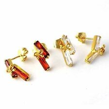 Fashion jewellery 18K Gold Plated Clear/Red Ruby Womens Cute bow Stud Earrings