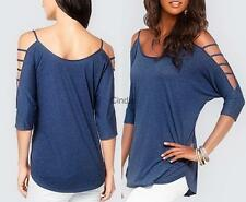 Sexy Womens Crew Neck T Shirt Off Shoulder Tops Blouse Casual 3/4 Sleeve Top