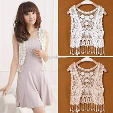 Stylish Women Hollow-Out Lace Style Tops Blouse Cropped  Vest Crochet Waistcoat