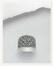 New MARCASITE Wide Band Sterling Silver .925 Ring~Gorgeous!