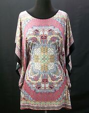 Pink Multi Color Tunic Top Blouse Kimono Sleeve Hippie Boho Small X-Large