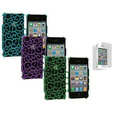 Electroplated Floral Flower Luxury Cover Case+3X LCD Protector for iPhone 4 4S