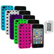 Basket Weave Hard Snap-On Case+Screen Protector for iPhone 4 4S 4G