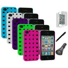 Basket Weave Hard Snap-On Case+LCD+Charger+Pen for iPhone 4 4S 4G