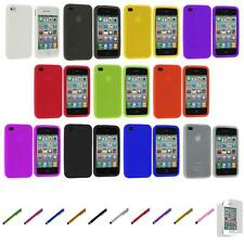 For iPhone 4S 4 Silicone Rubber Gel Soft Skin Case Cover+Screen Protector