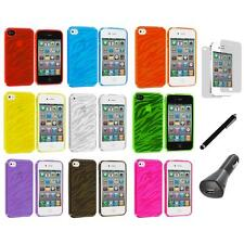 TPU Zebra Color Transparent Rubber Cover Case+LCD+Charger+Pen for iPhone 4S 4G