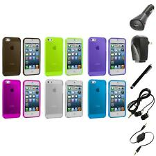 Color Clear Transparent TPU Plain Rubber Case Cover+Accessories for iPhone 5 5S