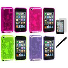 Butterfly Flower TPU Rubber Case+LCD Film+Stylus for iPod Touch 4th Gen 4G 4