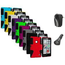For Nokia Lumia 520 Hybrid Mesh Hard/Soft Silicone Color Case Cover+2X Chargers