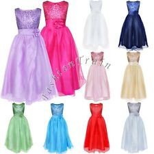 GIRLS Flower Formal Wedding Bridesmaid Party Princess Prom Long Ball Gown Dress