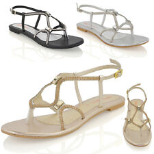 WOMENS FLAT STRAPPY SANDALS DIAMANTE LADIES CUT OUT SPARKLY BUCKLE SHOES SIZE