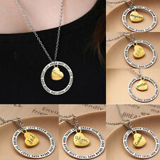 Trendy Family Necklace Pendant Fortune Gift Letters Words DREAM LOVE HOPE TRUST