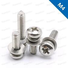 M4 Cross Recessed Pan Head Screw, Spring Lock Washer and Plain Washer Assemblies
