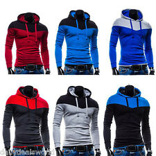 Winter Mens Sport Pullover Hoodie Color Stitching Long Sleeve Hooded Coat Jacket