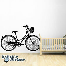 Woman's Cruiser Bicycle with Basket Vinyl Wall Decal bike transfer sticker K562