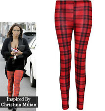 WOMEN LADIES HOT SEXY TARTAN CHECK PRINT FULL LENGTH LEGGINGS TROUSERS 8-22