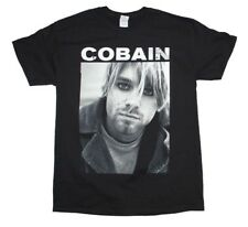 Kurt Cobain Black & White Photo Nirvana Rock Music Men's Black Cotton T-Shirt