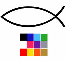 Christian Fish Stickers x 6 Ichthys Religious Laptop Macbook Ipad Car Decal