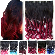 "24""(60CM) 130g Wavy Synthetic Clip in Hair Extensions OMBRE Two Tone Color"