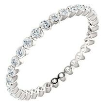 Genuine 1/2 ctw G-H SI2-SI3 Diamonds Eternity Ring 14K. White Gold Sizes 5, 6, 7