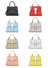 NEW LADIES FAUX LEATHER TWO TONE EVENING HAND BAG DETACHABLE STRAP CLUTCH BAG