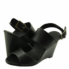 Women's Shoes Bamboo Whimsical 05M Double Band Wedge Sandal Black *New*