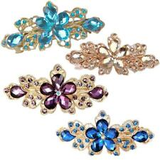 Fashion Women Headwear Crystal Rhinestone Flower Hair Clip Barrette Hairpin