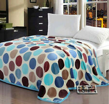 Color Dots Soft Warm Plush Flannel Bed Sleep Blanket Flat Single Double Queen