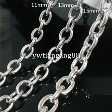 """16""""-40""""Men's Silver Jewelry 316L Stainless Steel Big O Chain Necklace 11/13/15mm"""