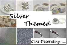 SILVER Themed Cake Decorating Sugar Balls Sprinkles Paints Pens Cupcake Cases