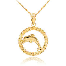 14k Gold Jumping Dolphin in Circle Rope Pendant Necklace