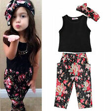 Toddler Infant Girls Outfits Headband + T-shirt + Floral Pants Kids Clothes Set