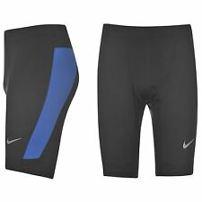 Nike Dri-Fit Running Tights Shorts Mens Black/Blue Jogging Fitness Sportswear
