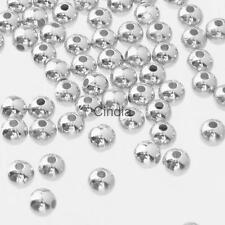 500pcs Silver Shiny Metal Round 4mm/6mm Spacer Beads Craft DIY Jewelry Supplier