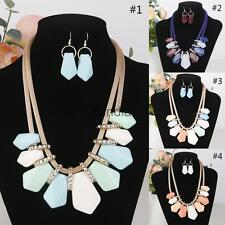 Hot Sale Colorful Vintage Style Women Jewelry Set Statement Necklace Earring Set