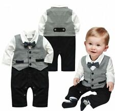 Baby Boy Wedding Formal Party Wear Tuxedo Suit Romper Outfit Clothes NEWBORN-12M