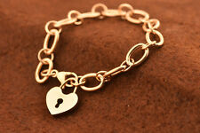 Stainless Steel 14K Rose Gold  Silver Solid Heart Lock Charm Chain Bracelet7.5''