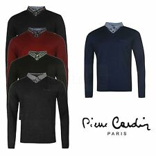 Mens Mock V Neck Jumper Sweater Pierre Cardin Top Casual Pullover Knitwear Shirt