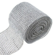 "4.7"" Silver Diamond Mesh Party Decor Trim Wrap Roll Sparkle Rhinestone Crystal"