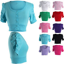 Casual Solid Cotton Shirred Ruched Short Sleeve Button Down Cropped Cardigan Top